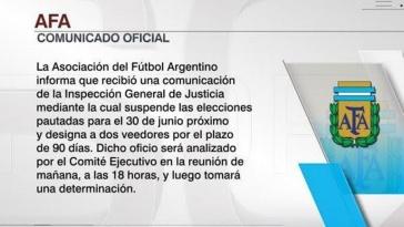 Suspendieron las Elecciones en AFA
